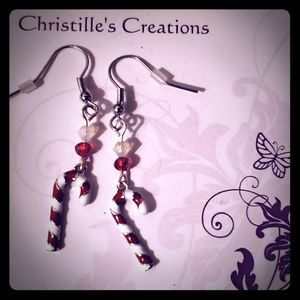 Women's or girls holiday candy cane earrings